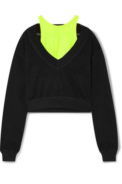 alexanderwang.t - Cropped Layered Stretch-jersey Sweatshirt - Black
