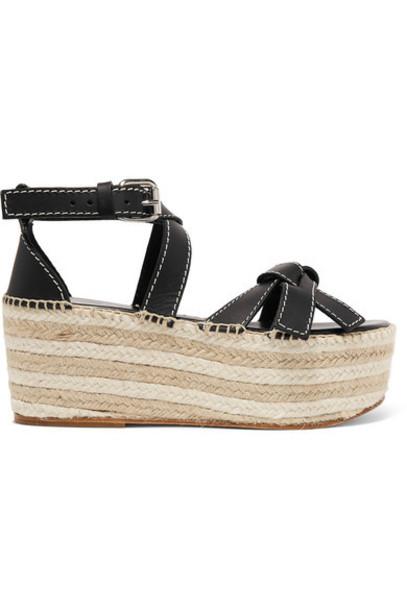 Loewe - Leather Espadrille Wedge Sandals - Black