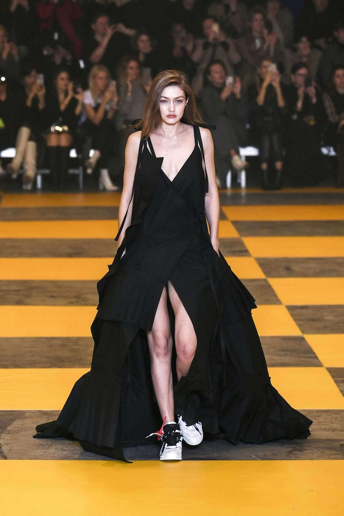 shoes dress black dress maxi dress sneakers gigi hadid runway model