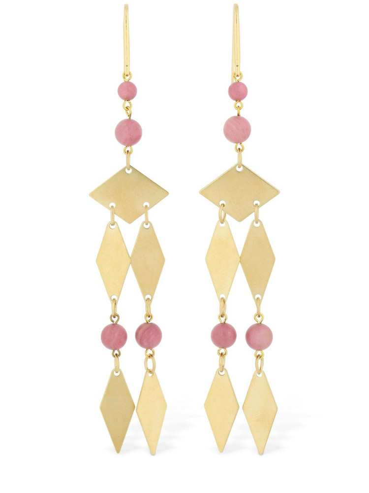ISABEL MARANT Harlow Pendant Earrings W/ Stone Beads in gold / pink