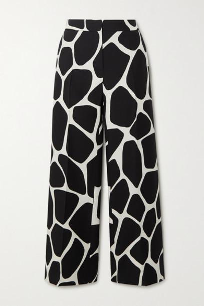 Valentino - Printed Wool And Silk-blend Crepe Wide-leg Pants - Black