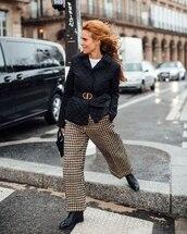 pants,wide-leg pants,houndstooth,dior,black boots,black jacket