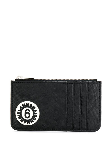 MM6 Maison Margiela logo patch zip purse in black
