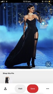 dress,rihanna slit dress,slit dress,black dress,rhianna slit dress,victoria's secret