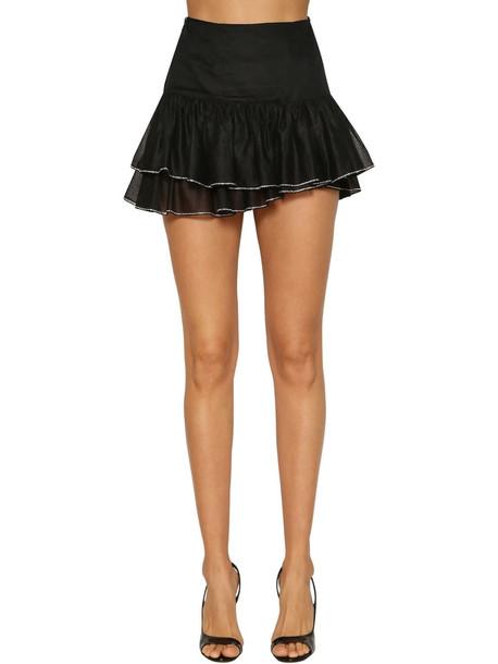 ALEXANDRE VAUTHIER Crystals Light Cotton Skirt W/ Ruffles in black