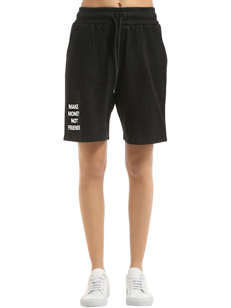 MAKE MONEY NOT FRIENDS Logo Cotton Sweat Shorts in black