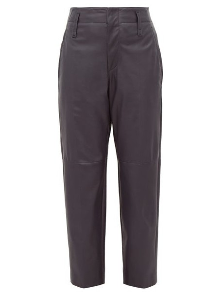 Brunello Cucinelli - High Rise Tapered Leather Trousers - Womens - Navy