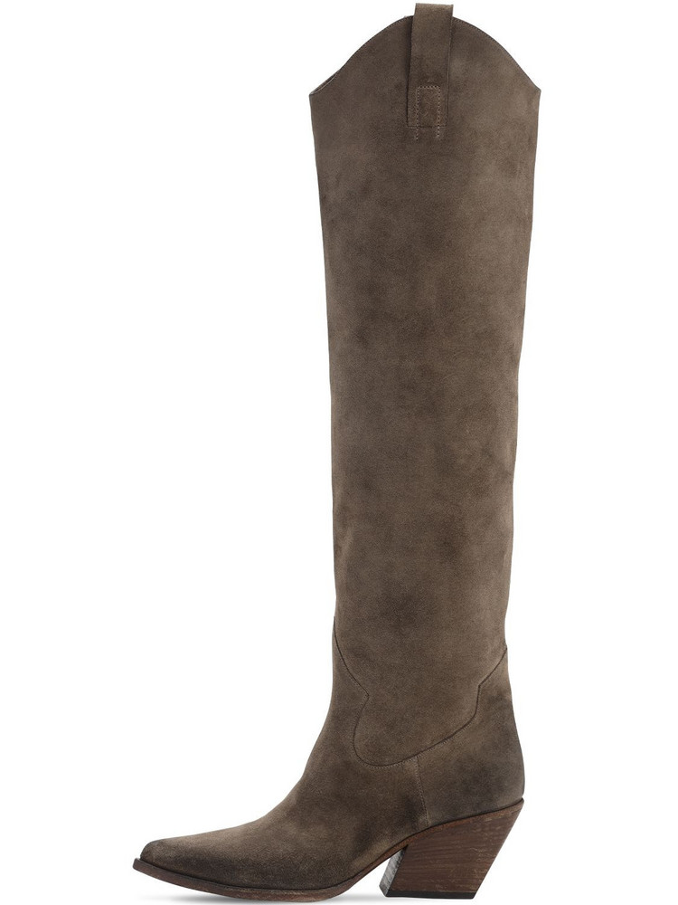 ELENA IACHI 70mm Suede Over The Keee Boots in brown