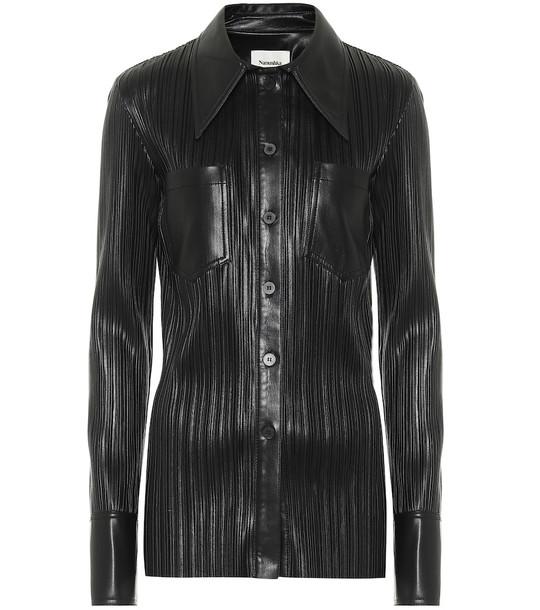 Nanushka Blaine pleated faux leather shirt in black