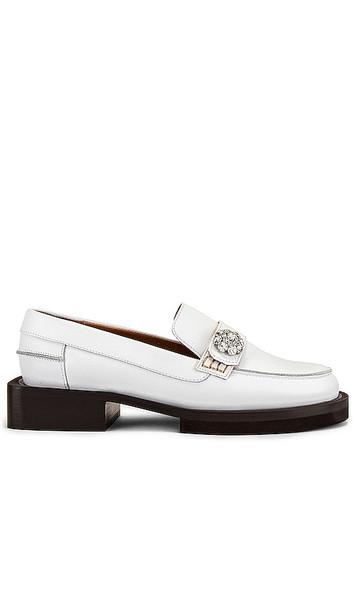 Ganni Embellished Loafer in Ivory