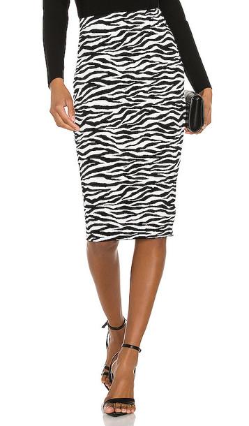 MILLY Zebra Midi Skirt in Black & White