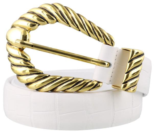 Alberta Ferretti Leather Belt in white