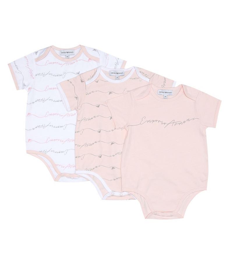 Emporio Armani Kids Set of 3 cotton bodysuits in pink