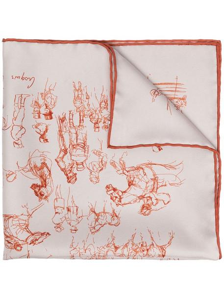 Hermès pre-owned printed silk scarf in neutrals
