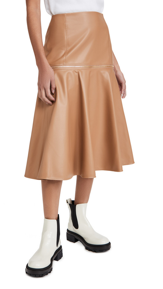 Adeam Faux Leather Zip Skirt in camel