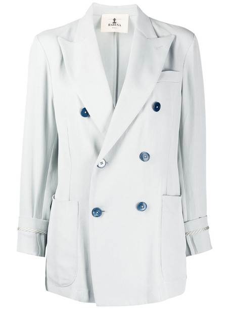 Barena cropped sleeve double buttoned blazer in blue