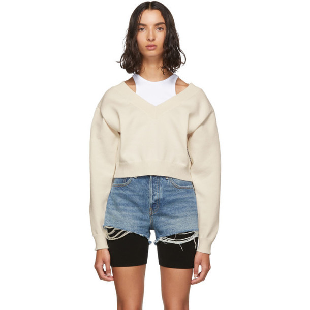 alexanderwang.t Off-White Cropped Bi-Layer V-Neck Sweater