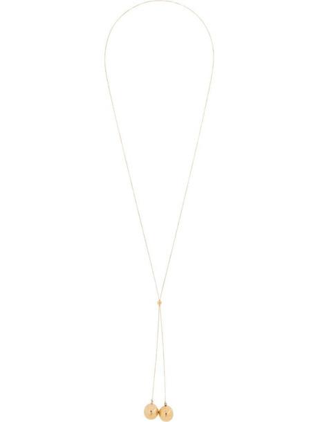 Bottega Veneta sphere drop-pendant long necklace in gold