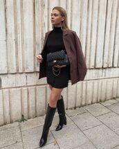 skirt,black skirt,mini skirt,wrap skirt,black boots,knee high boots,blazer,black turtleneck top,black bag