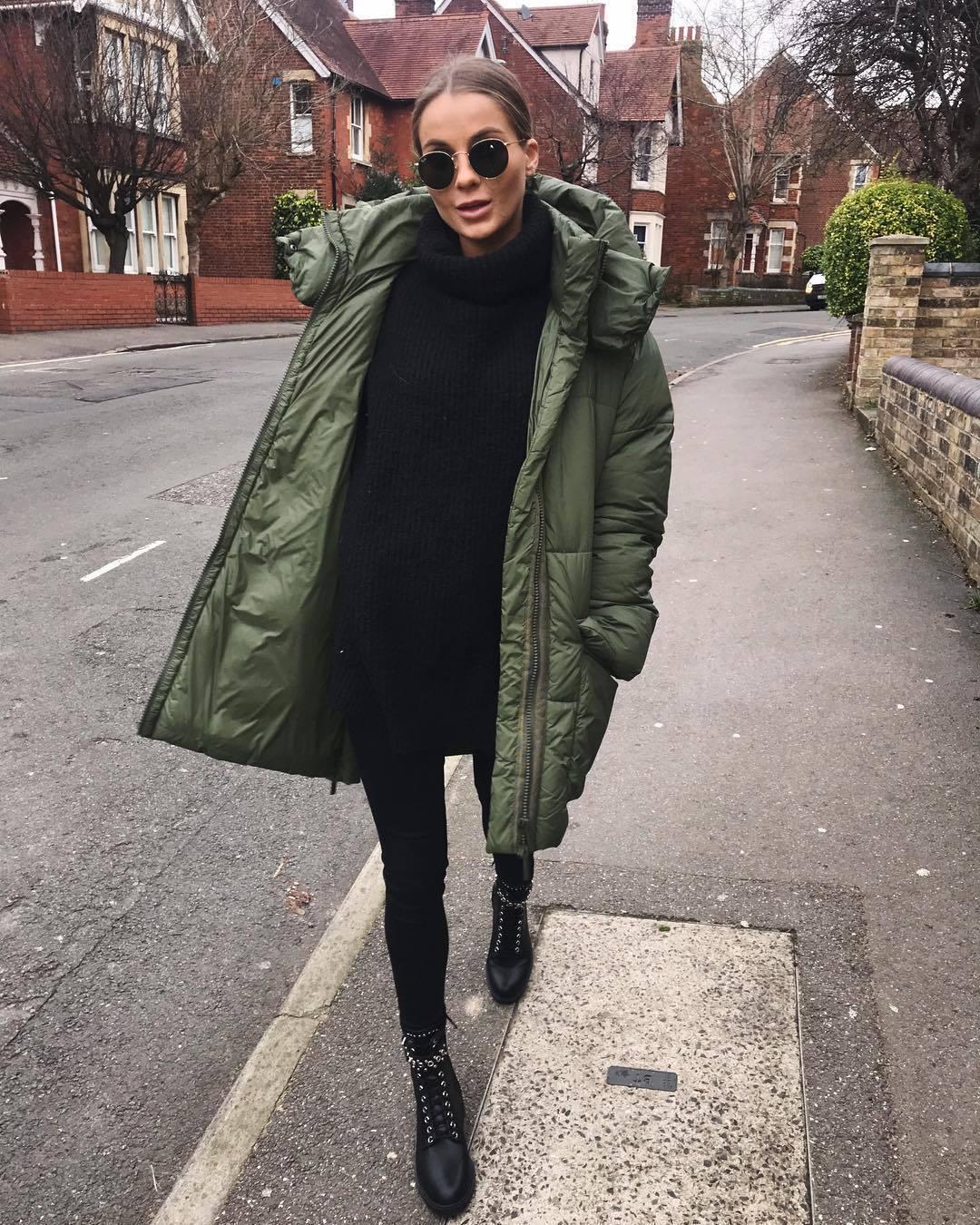 sweater turtleneck sweater zara oversized turtleneck sweater black boots black skinny jeans green jacket puffer jacket