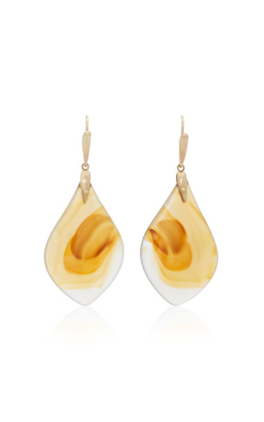 Annette Ferdinandsen 18K Gold Agate Earrings in brown
