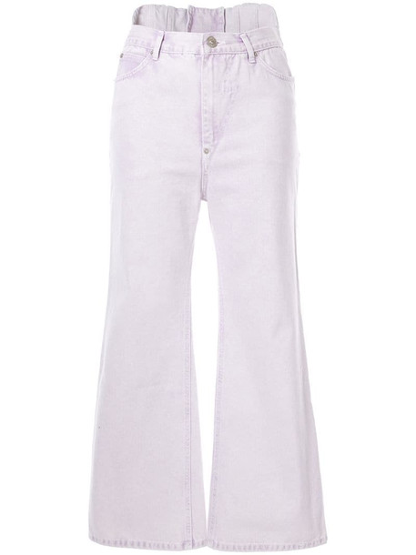 pushBUTTON cropped flared jeans in purple
