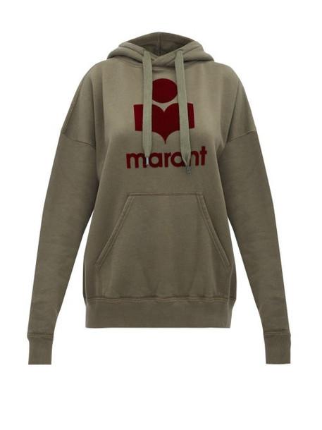 Isabel Marant Étoile - Mansel Flocked Logo Cotton Blend Sweatshirt - Womens - Khaki Multi