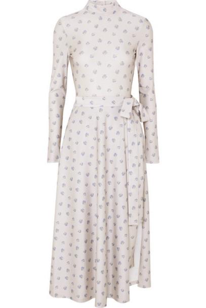 ROTATE Birger Christensen - Open-back Layered Floral-print Stretch-jersey Bodysuit - Cream