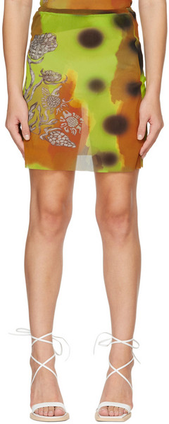 Paula Canovas Del Vas Brown & Green Graphic Mesh Skirt in yellow
