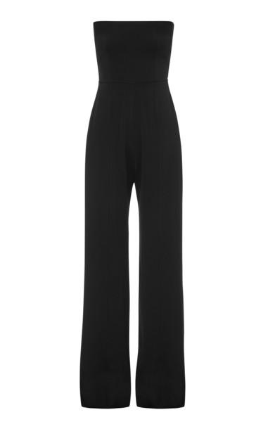 Alex Perry Mackenzie Strapless Satin Jumpsuit Size: 4 in black