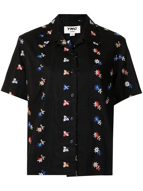 YMC Vegas floral-embroidered shirt - Black