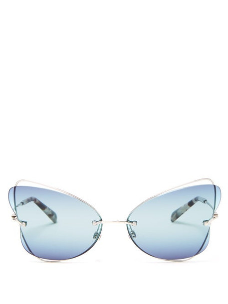 Valentino - Butterfly Rimless Metal Sunglasses - Womens - Silver