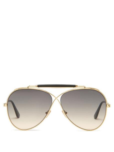 Tom Ford Eyewear - Holden Infinity-aviator Metal Sunglasses - Womens - Gold