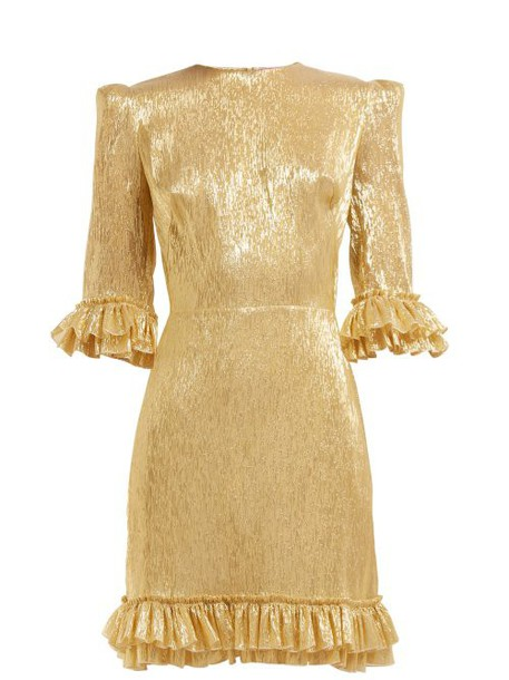 The Vampire's Wife - Mini Festival Silk Blend Dress - Womens - Gold