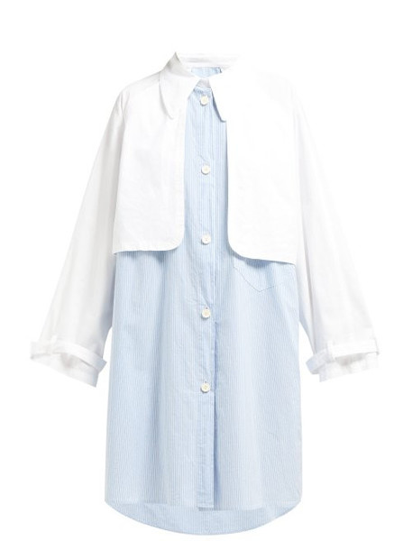 Mm6 Maison Margiela - Double Layered Cotton Shirtdress - Womens - Blue White