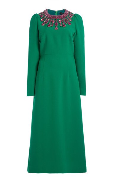 Andrew Gn Structured Crepe De Chine Dress in green