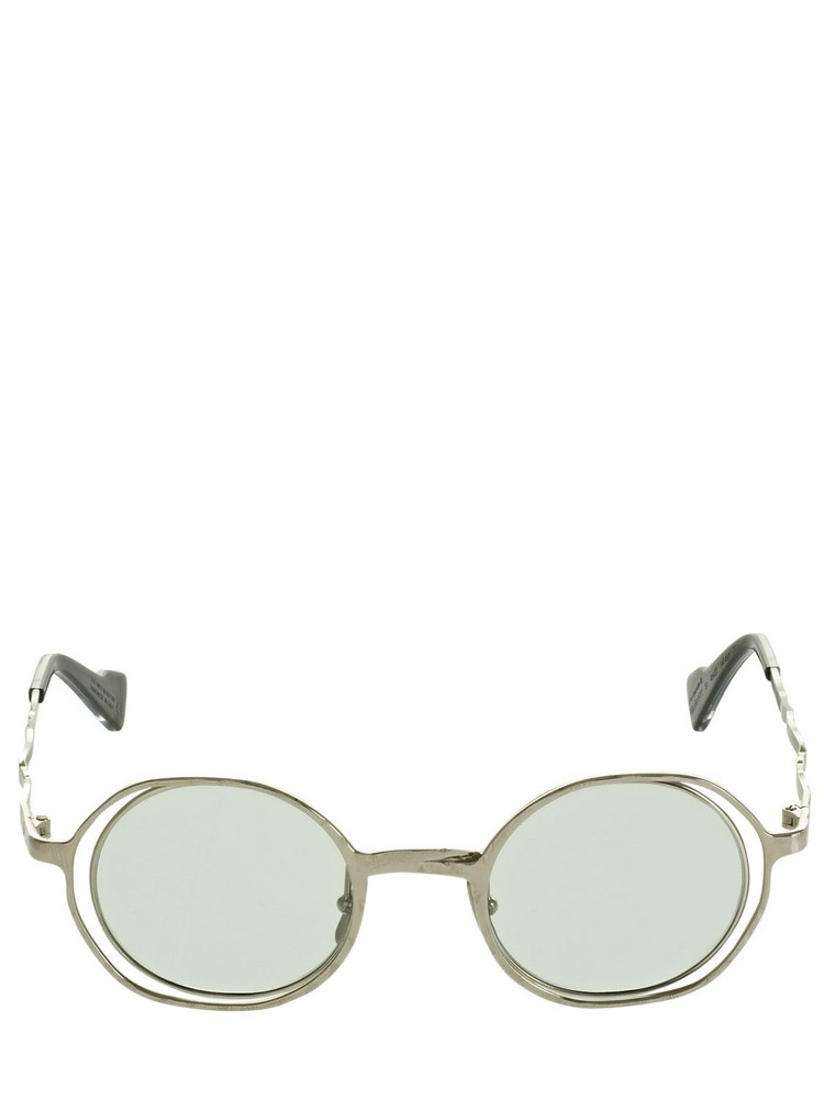 KUBORAUM BERLIN H11 Round Metal Sunglasses in green / silver