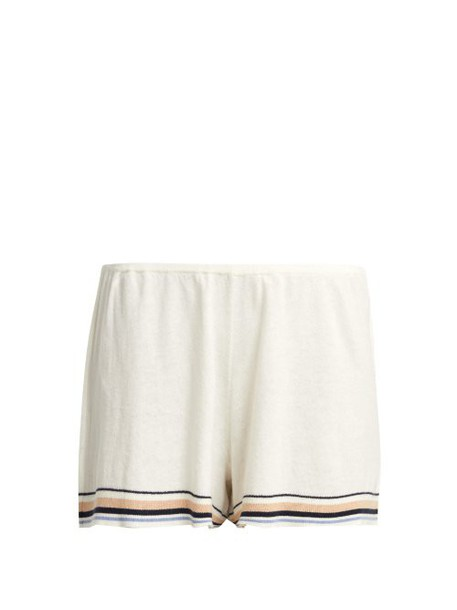 Skin - Evie Intarsia Striped Cotton Blend Shorts - Womens - Ivory Multi