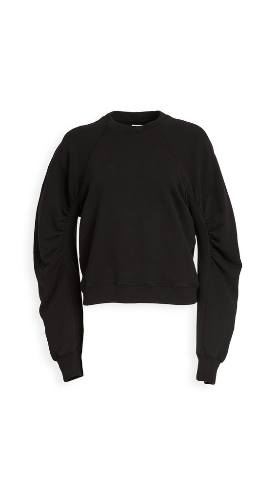 Citizens of Humanity Evelyn Ruched Sleeve Sweatshirt in black
