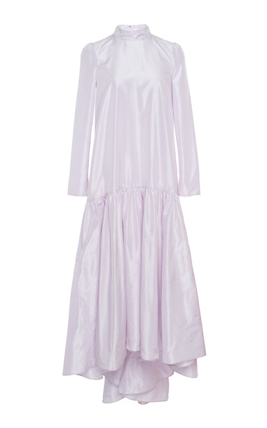 Adam Lippes Drop-Waist Taffeta Silk Gown Size: 2 in purple