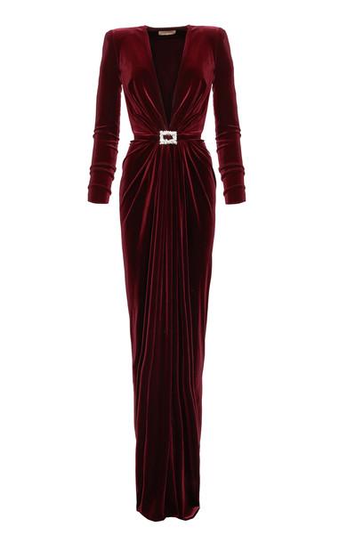 Alexandre Vauthier Gathered Velvet Column Gown Size: 34