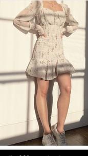 dress,floral,beige