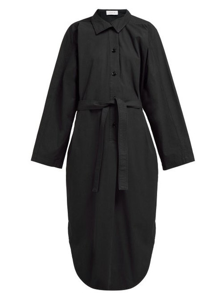 Lemaire - Tie Waist Cotton Poplin Shirtdress - Womens - Black