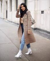 coat,long coat,double breasted,plaid,topshop,white boots,heel boots,high waisted jeans,mom jeans,knitted sweater,gucci bag