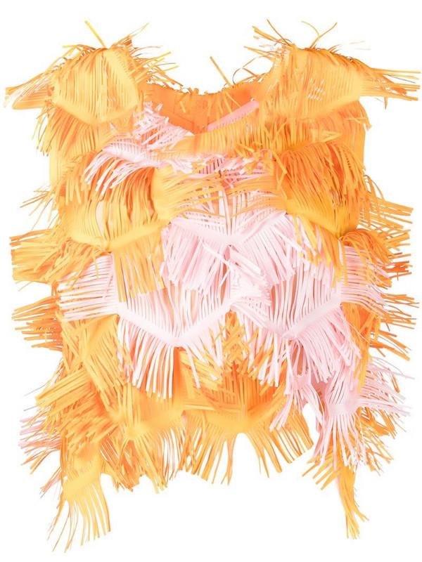 Paskal fringe design blouse in orange