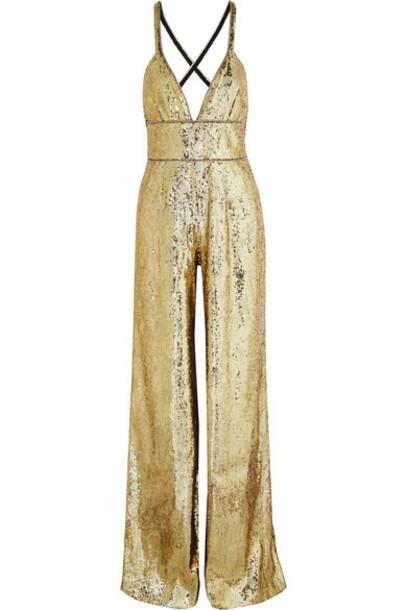 Dundas - Crystal-embellished Sequined Tulle Jumpsuit - Gold
