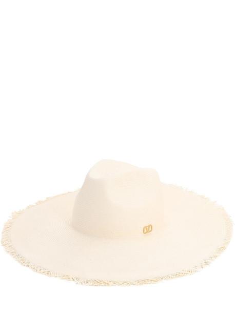 VALENTINO GARAVANI Go Logo Fringed Paper Hat in white