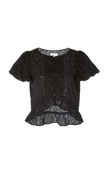 Sir The Label Elodie Broderie Anglaise Cotton And Silk-Blend Top in black