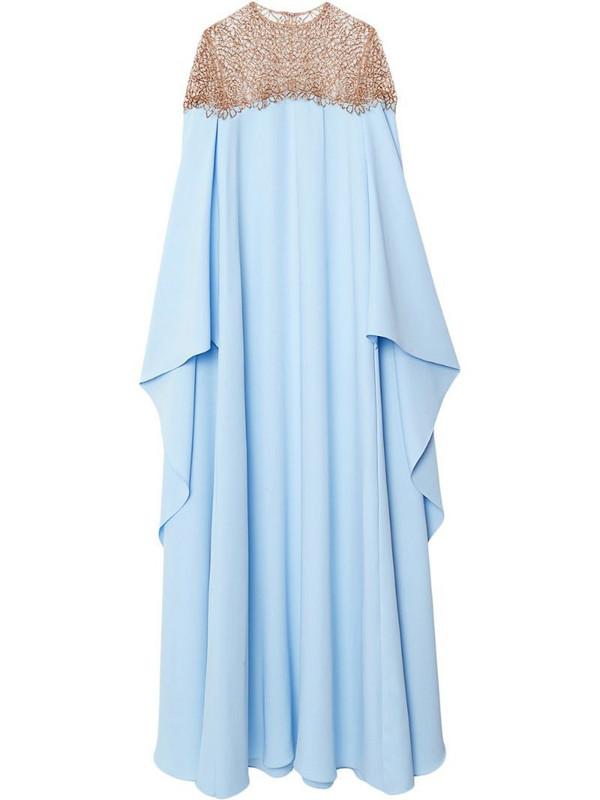 Carolina Herrera drape-detail silk dress in blue