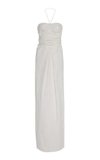 Georgia Alice Valentina Strapless Cotton-Stretch Gown in white